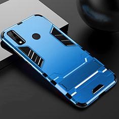Coque Contour Silicone et Plastique Housse Etui Mat avec Support pour Huawei Y8s Bleu
