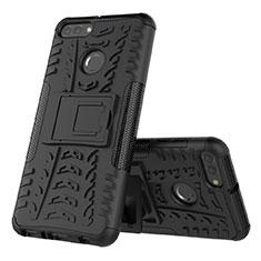 Coque Contour Silicone et Plastique Housse Etui Mat avec Support pour Huawei Y9 (2018) Noir