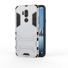 Coque Contour Silicone et Plastique Housse Etui Mat avec Support pour LG G7 Argent