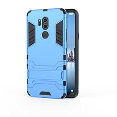 Coque Contour Silicone et Plastique Housse Etui Mat avec Support pour LG G7 Bleu Ciel