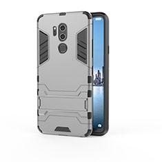 Coque Contour Silicone et Plastique Housse Etui Mat avec Support pour LG G7 Gris