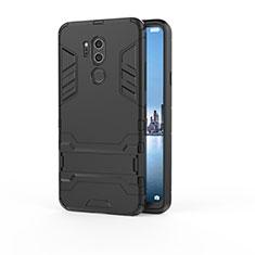 Coque Contour Silicone et Plastique Housse Etui Mat avec Support pour LG G7 Noir
