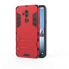 Coque Contour Silicone et Plastique Housse Etui Mat avec Support pour LG G7 Rouge