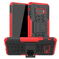 Coque Contour Silicone et Plastique Housse Etui Mat avec Support pour LG G8X ThinQ Rouge