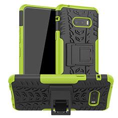 Coque Contour Silicone et Plastique Housse Etui Mat avec Support pour LG G8X ThinQ Vert