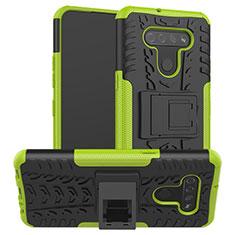 Coque Contour Silicone et Plastique Housse Etui Mat avec Support pour LG K51 Vert