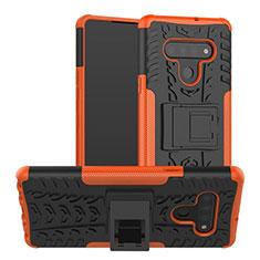 Coque Contour Silicone et Plastique Housse Etui Mat avec Support pour LG Stylo 6 Orange