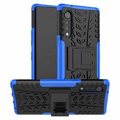 Coque Contour Silicone et Plastique Housse Etui Mat avec Support pour LG Velvet 5G Bleu