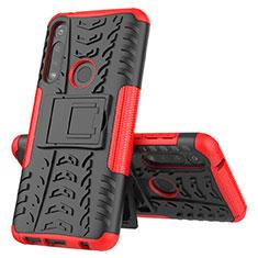 Coque Contour Silicone et Plastique Housse Etui Mat avec Support pour Motorola Moto G Power Rouge