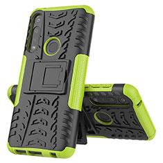 Coque Contour Silicone et Plastique Housse Etui Mat avec Support pour Motorola Moto G Power Vert
