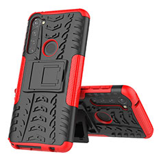 Coque Contour Silicone et Plastique Housse Etui Mat avec Support pour Motorola Moto G Stylus Rouge