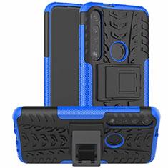 Coque Contour Silicone et Plastique Housse Etui Mat avec Support pour Motorola Moto G8 Plus Bleu