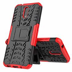 Coque Contour Silicone et Plastique Housse Etui Mat avec Support pour Nokia 2.3 Rouge
