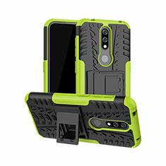 Coque Contour Silicone et Plastique Housse Etui Mat avec Support pour Nokia 4.2 Vert