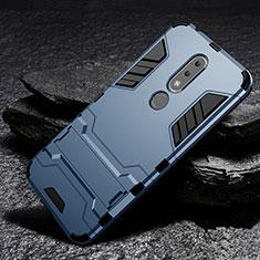Coque Contour Silicone et Plastique Housse Etui Mat avec Support pour Nokia 6.1 Plus Bleu