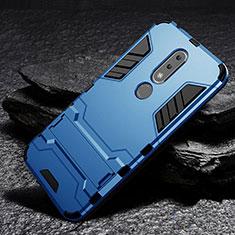 Coque Contour Silicone et Plastique Housse Etui Mat avec Support pour Nokia 6.1 Plus Bleu Ciel