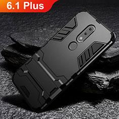 Coque Contour Silicone et Plastique Housse Etui Mat avec Support pour Nokia 6.1 Plus Noir