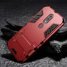 Coque Contour Silicone et Plastique Housse Etui Mat avec Support pour Nokia 6.1 Plus Rouge