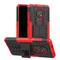 Coque Contour Silicone et Plastique Housse Etui Mat avec Support pour Nokia 7.2 Rouge
