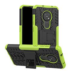 Coque Contour Silicone et Plastique Housse Etui Mat avec Support pour Nokia 7.2 Vert
