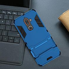 Coque Contour Silicone et Plastique Housse Etui Mat avec Support pour Nokia 7 Plus Bleu