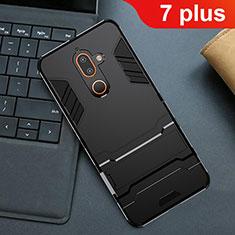 Coque Contour Silicone et Plastique Housse Etui Mat avec Support pour Nokia 7 Plus Noir