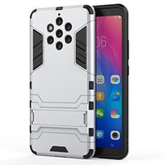 Coque Contour Silicone et Plastique Housse Etui Mat avec Support pour Nokia 9 PureView Blanc
