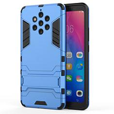 Coque Contour Silicone et Plastique Housse Etui Mat avec Support pour Nokia 9 PureView Bleu Ciel