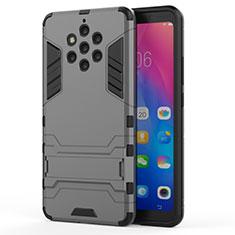 Coque Contour Silicone et Plastique Housse Etui Mat avec Support pour Nokia 9 PureView Gris