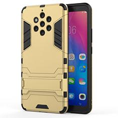 Coque Contour Silicone et Plastique Housse Etui Mat avec Support pour Nokia 9 PureView Or