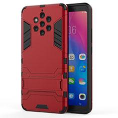Coque Contour Silicone et Plastique Housse Etui Mat avec Support pour Nokia 9 PureView Rouge