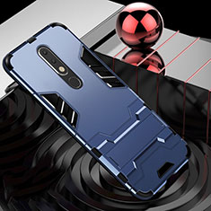 Coque Contour Silicone et Plastique Housse Etui Mat avec Support pour Nokia X5 Bleu