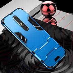 Coque Contour Silicone et Plastique Housse Etui Mat avec Support pour Nokia X5 Bleu Ciel