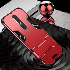 Coque Contour Silicone et Plastique Housse Etui Mat avec Support pour Nokia X5 Rouge