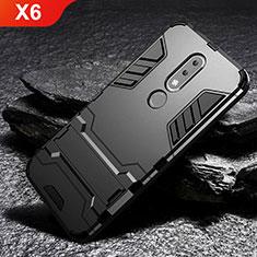 Coque Contour Silicone et Plastique Housse Etui Mat avec Support pour Nokia X6 Noir