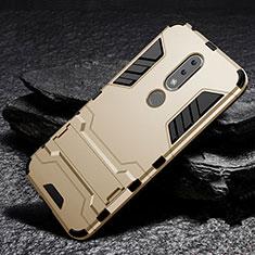 Coque Contour Silicone et Plastique Housse Etui Mat avec Support pour Nokia X6 Or