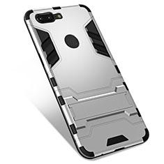 Coque Contour Silicone et Plastique Housse Etui Mat avec Support pour OnePlus 5T A5010 Argent
