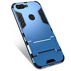 Coque Contour Silicone et Plastique Housse Etui Mat avec Support pour OnePlus 5T A5010 Bleu