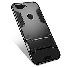 Coque Contour Silicone et Plastique Housse Etui Mat avec Support pour OnePlus 5T A5010 Noir