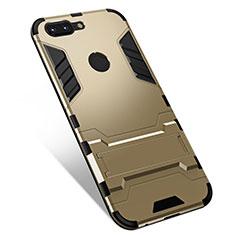 Coque Contour Silicone et Plastique Housse Etui Mat avec Support pour OnePlus 5T A5010 Or