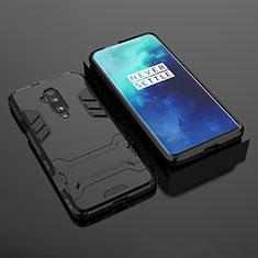 Coque Contour Silicone et Plastique Housse Etui Mat avec Support pour OnePlus 7T Pro Noir