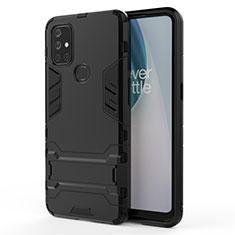 Coque Contour Silicone et Plastique Housse Etui Mat avec Support pour OnePlus Nord N10 5G Noir