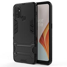 Coque Contour Silicone et Plastique Housse Etui Mat avec Support pour OnePlus Nord N100 Noir