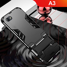 Coque Contour Silicone et Plastique Housse Etui Mat avec Support pour Oppo A3 Noir