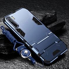 Coque Contour Silicone et Plastique Housse Etui Mat avec Support pour Oppo A91 Bleu