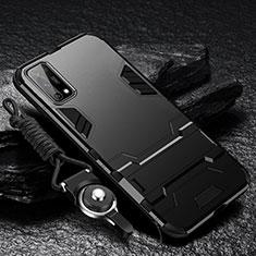 Coque Contour Silicone et Plastique Housse Etui Mat avec Support pour Oppo K7x 5G Noir