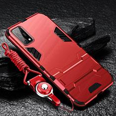 Coque Contour Silicone et Plastique Housse Etui Mat avec Support pour Oppo K7x 5G Rouge