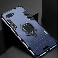 Coque Contour Silicone et Plastique Housse Etui Mat avec Support pour Oppo R15X Bleu
