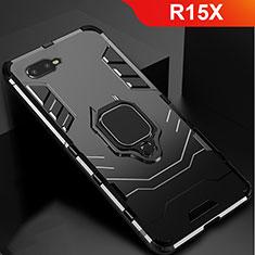 Coque Contour Silicone et Plastique Housse Etui Mat avec Support pour Oppo R15X Noir