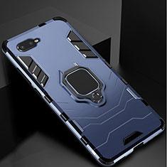 Coque Contour Silicone et Plastique Housse Etui Mat avec Support pour Oppo R17 Neo Bleu
